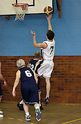 Erkenwald's Robin French (#7) lays the ball up during Erkenwald's EMBL game at Eastbury Tigers on Thursday 9th February. This was Tigers' last home game at the Dawson Avenue gym since the School was closing the following day.