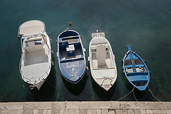 High angle view of boats moored at harbour, Gallipoli, Puglia, Italy