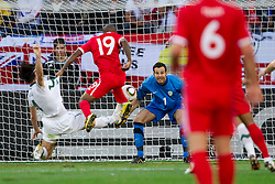 Jermain Defoe of England scored vs Marko Suler of Slovenia and Goalkeeper of Slovenia Samir Handanovic during the 2010 FIFA World Cup South Africa Group C Third Round match between Slovenia and England on June 23, 2010 at Nelson Mandela Bay Stadium, Port Elizabeth, South Africa.  (Photo by Vid Ponikvar / Sportida)