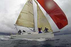 The Clyde Cruising Club's Scottish Series held on Loch Fyne by Tarbert. .Day 4 Racing with a wet Southerly to start clearing up for the last race...Class 3 winner and potential overall winner GBR97L ,Jaywalker ,Iain Laidlaw ,0.987 ,CCC ,J97