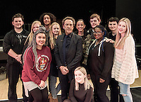 "Robert Lindsay filming BBC ""Sixty Six"" documentary at his old College (Clarendon) in Nottingham where he studied acting 50 years ago in 1966.<br /> <br /> He met hairdressing students and chatted with current acting students before being re-united with fellow student and actor David Dixon.<br /> <br /> 12th, February.2016"