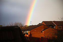 © Licensed to London News Pictures. 15/11/2020. London, UK. A rainbow over north London during rainfall. Photo credit: Dinendra Haria/LNP