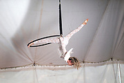Female Aerialist acrobat with angle wings performs in the air on a hoop in a circus tent