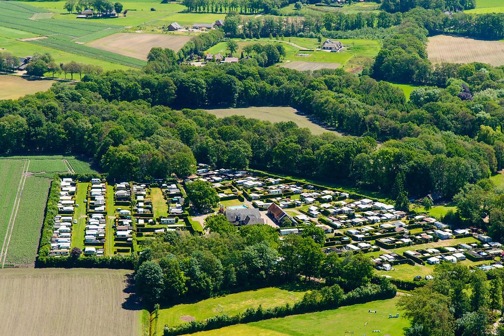 Nederland, Gelderland, Achterhoek, 29-05-2019; Achterhoek,  omgeving Winterswijk - Brinkheurne. Kamperen bij de boer.<br /> Camping at the farm.<br /> luchtfoto (toeslag op standard tarieven);<br /> aerial photo (additional fee required);<br /> copyright foto/photo Siebe Swart
