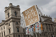 A sign campaigning to ban the use of plastics on the 12th April 2019 in London in the United Kingdom.