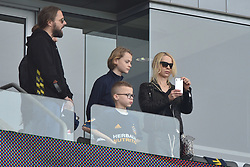 Helena Seger and kids attend Zlatan Ibrahimović first MLS game. He scored 2 goals in 20 minutes. Los Angeles Galaxy vs Los Angeles FC MLS game at the StubHub Center on March 31, 2018 in Carson, California. Photo by Lionel Hahn/ABACAPRESS.COM