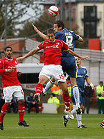 Photo: Richard Lane/Richard Lane Photography. Nottingham Forest v Cardiff City. Coca Cola Championship. 24/10/2008. Chris Cohen (front) is outjumped by Roger Johnson