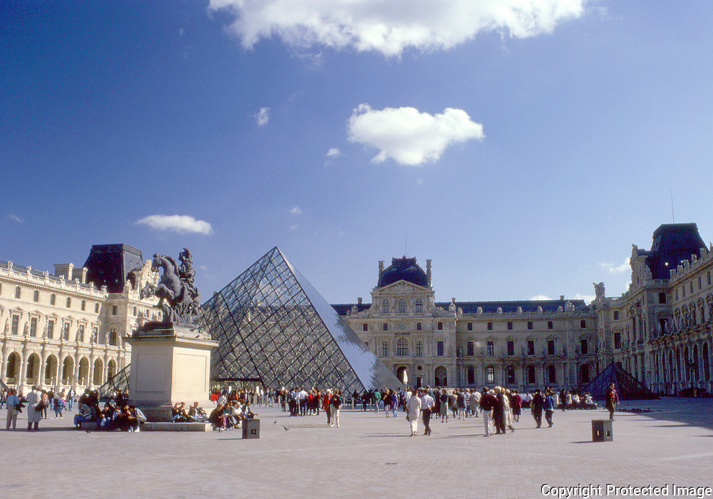 Glass Pyramid and courtyard at the Louvre Museum in Paris on the right bank