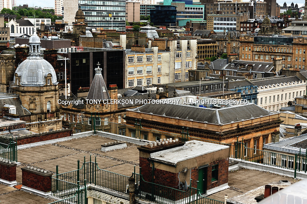 View from above of rooftops over Glasgow city centre