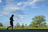Augusta, New Jersey - A runner competes in a 72-hour race during the 3 Days at the Fair races at Sussex County Fairgrounds on May 10, 2012.