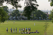 With the city (including Bg Ben and Parliament) in the distance and beneath 100 year-old ash trees, amateur cricketers play in south London's Ruskin Park in the London borough of Lambeth.