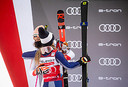 Second placed Michelle Gisin (SUI) and First placed Marta Bassino (ITA) celebrate during trophy ceremony after 2nd Run of Ladies' Giant Slalom at 57th Golden Fox event at Audi FIS Ski World Cup 2020/21, on January 17, 2021 in Podkoren, Kranjska Gora, Slovenia. Photo by Vid Ponikvar / Sportida