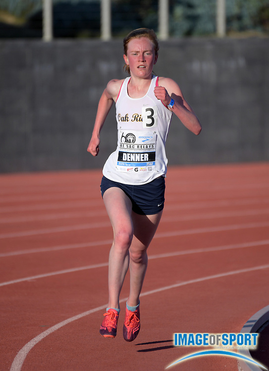 Apr 20, 2018; Torrance, CA, USA; Maddy Denner of Oak Ridge wins the girls 3,200m in 10:08.01 during the 60th Mt. San Antonio College Relays at Murdock Stadium.