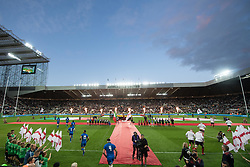 Italy and England run onto the pitch <br /> <br /> Photographer Craig Thomas/Replay Images<br /> <br /> Quilter International - England v Italy - Friday 6th September 2019 - St James' Park - Newcastle<br /> <br /> World Copyright © Replay Images . All rights reserved. info@replayimages.co.uk - http://replayimages.co.uk