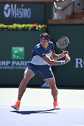 March 16, 2019 - Palm Desert, California, Usa - Tennis : BNP Paribas Open 2019 - Milos Raonic - Canada (Credit Image: © Panoramic via ZUMA Press)