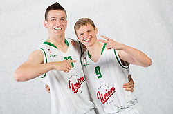 Alen Omic of Union Olimpija and Teemu Rannikko of Union Olimpija during Euroleague media day of basketball club KK Union Olimpija before new season 2012/13 on September 27, 2012 in Arena Stozice, Ljubljana, Slovenia. (Photo By Vid Ponikvar / Sportida)