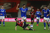 Football - 2020 / 2021 Sky Bet Championship - AFC Bournemouth vs. Cardiff City - The Vitality Stadium<br /> <br /> Curtis Nelson of Cardiff City fouls Bournemouth's Shane Long during the Championship match at the Vitality Stadium (Dean Court) Bournemouth <br /> <br /> COLORSPORT/SHAUN BOGGUST