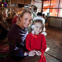 """Rose Of Tralee Charmaine Kenny with five year old Dasha and Adi Roche with children in a """"Home of Hope"""" in Glusk,Belarus during their recent visit to Chernobyl,Belarus.This home of hope is sponsered by Norma Smurfit and is one of 21 Homes providing a family life for previously institutionalised children.<br /> Photograph by Eamon Ward"""