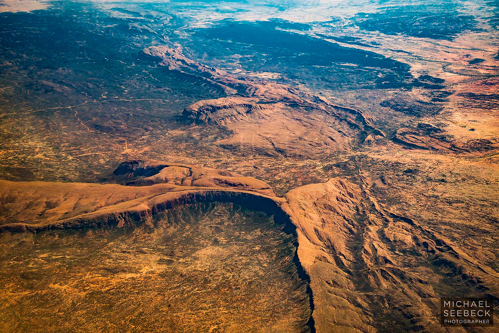Aerial photograph of ancient rugged ranges in western NSW.