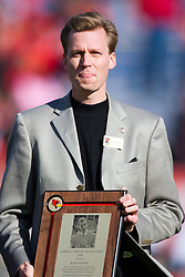 """17 October 2009: Kurt Pegler gets the Campbell """"Stretch"""" Miller Award and is admitted to the Redbird Hall of Fame. The Indiana State Sycamores tumble to the Illinois State Redbirds 38-21 at Hancock Stadium on campus of Illinois State University in Normal Illinois"""