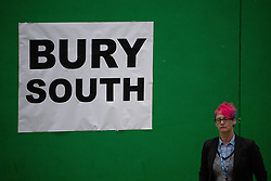 © Licensed to London News Pictures . 12/12/2019. Bury, UK. The count for seats in the constituency of Bury South in the 2019 UK General Election , at Castle Leisure Centre in Bury . Photo credit: Joel Goodman/LNP