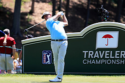 June 21, 2018 - Cromwell, CT, U.S. - CROMWELL, CT - JUNE 21: Chez Reavie of the United States drives from the 18th tee during the First Round of the Travelers Championship on June 21, 2018, at TPC River Highlands in Cromwell, Connecticut. (Photo by Fred Kfoury III/Icon Sportswire) (Credit Image: © Fred Kfoury Iii/Icon SMI via ZUMA Press)