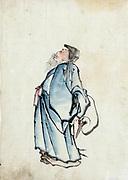 Fukurokuju, Japanese god of wisdom, wealth, long life and happiness, on  right is red-crowned crane, symbol of longevity and fidelity. Ink and colour wash on paper. Katsushika Hokusai (1760-1849)  Ukiyo-e artist.  Religion Deity