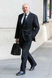 © Licensed to London News Pictures. 21/07/2019. London, UK. MP for Chingford and Woodford Green Iain Duncan Smith arrives at the BBC. Later he will appear on The Andrew Marr Show . Photo credit: George Cracknell Wright/LNP