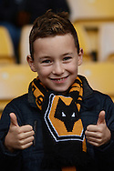 Wolves fan during the Sky Bet Championship match between Wolverhampton Wanderers and Middlesbrough at Molineux, Wolverhampton, England on 24 October 2015. Photo by Alan Franklin.