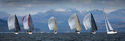 RWYC's Savills Kip Regatta  9-10th May 2015 <br /> Excellent conditions for the opening racing of the Clyde Season<br /> <br /> Class 1 , spinnakers with the backdrop of the Arrochar Alps. <br /> <br /> Credit : Marc Turner / PFM