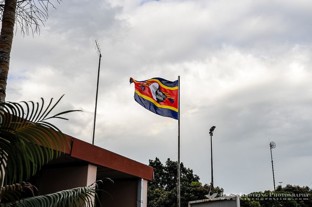The flag of Swaziland at Matsamo, a South Africa-Swaziland border crossing. The Kingdom of Swaziland.