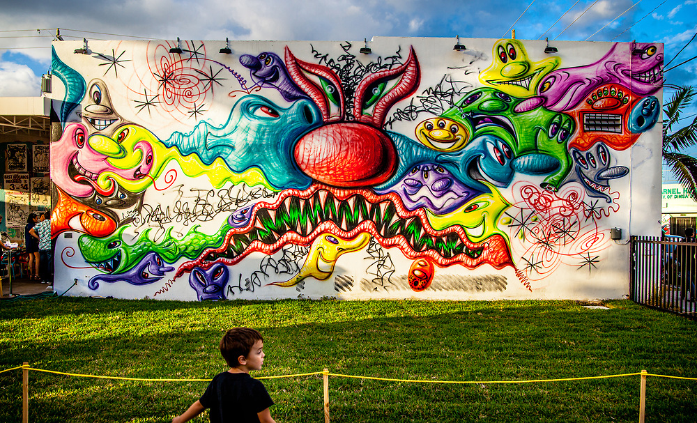 Boy views epic mural by pop artist Kenny Scharf at Miami's famed Wynwood Walls.<br /> <br /> Scharf later modified this mural by filling in the white portions with even more designs, as shown in the next image in this gallery,
