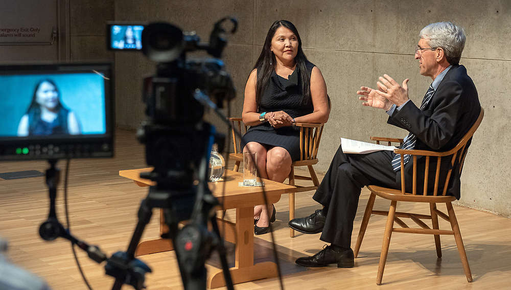 Photography ©Mara Lavitt<br /> September 17, 2018<br /> Yale Center for British Art, New Haven<br /> <br /> Dr. Patricia Nez Henderson was the 2018 Women of Yale conversation with Yale President Peter Salovey.