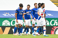 LEICESTER, ENGLAND - JULY 04: Jamie Vardy of Leicester City (centre) is congratulated after scoring his first goal and his sides second during the Premier League match between Leicester City and Crystal Palace at The King Power Stadium on July 4, 2020 in Leicester, United Kingdom. Football Stadiums around Europe remain empty due to the Coronavirus Pandemic as Government social distancing laws prohibit fans inside venues resulting in all fixtures being played behind closed doors. (Photo by MB Media)