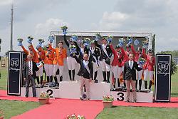 Team podium juniors winners of the FEI European Jumping Championship for juniors <br /> 1. GBR : Christie Pritchard, Millie Allen, Jessica Mendoza and Jake Saywell<br /> 2. NED : Kim Hoogenraat, Kim Brtil, Demi van Grunsven, Jens van Grunsven, chef d'equipe Roelof Bril<br /> 3. GER : Theresa Ripke, Laura Strehmel, Leonie Krieg, Teike Carstensen<br /> Arezzo 2014<br /> © Hippo Foto - Stefano Secchi