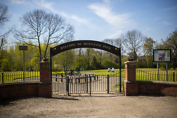 © Licensed to London News Pictures . 24/04/2021. Leigh , UK . GV of the park entrance , close to where it's understood the incident took place . Police say a 14 year old girl was pulled in to bushes and raped when she was walking through Westleigh Park on the afternoon of 22nd April 2021 . Photo credit : Joel Goodman/LNP