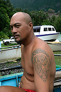Tatooed man, Hanavave, Island of Fatu Hiva, Marquesas Islands, French Polynesia, (Editorial use only)<br />