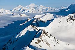 Aerial views of the St. Elias icefields and glaciers, Kluane National Park, Yukon