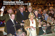 Anne Browne, Chairperson leads her committee throught the streets of Kenmare last night in an open top vintage carwhere thousands of people had gathered to celebrate the town's win in the Supervalu National Tidy Town Competiiton. <br /> Picture by Don MacMonagle