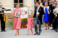 9-9-2016 - STOCKHOLM - Prince Alexander 's christening at the drottningholm palace ,   King Carl XVI Gustaf  , Queen Silvia , The Crown Princess Victoria with princess Estelle  and Prince Oscar Carl Olof  , Prince Daniel, Prince Carl Philip, Princess Sofia, Princess Madeleine, Christopher O'Neill and Princess Leonore COPYRIGHT ROBIN UTRECHT<br /> 2016/09/09 - STOCKHOLM - Prins Alexander 's doop in het Drottningholm Paleis, koning Carl XVI Gustaf, Koningin Silvia, De kroonprinses Victoria met prinses Estelle en prins Oscar Carl Olof, Prins Daniel, prins Carl Philip, Princess Sofia, Princess madeleine, Christopher O'Neill en Prinses Leonore COPYRIGHT ROBIN UTRECHT