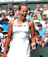 Tennis - 2019 Wimbledon Championships - Week Two, Thursday (Day Ten)<br /> <br /> Women's Singles, Semi-Final: Serena Williams (USA) vs. Barbora Strycova (CZE)<br /> <br /> Barbora Strycova gives out a large shout after missing a shot on Centre Court.<br /> <br /> COLORSPORT/ANDREW COWIE