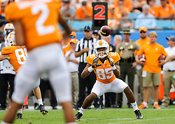 Sep 1, 2018; Charlotte, NC, USA; Tennessee Volunteers wide receiver Cedric Tillman (85) catches a pass during the third quarter against the West Virginia Mountaineers at Bank of America Stadium. Mandatory Credit: Ben Queen-USA TODAY Sports