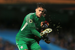 9th September 2017 - Premier League - Manchester City v Liverpool - Sadio Mane of Liverpool collides with Man City goalkeeper Ederson - Photo: Simon Stacpoole / Offside.