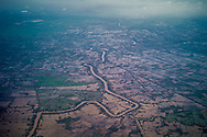 Aerial view of farmlands in Thanh Hoa, Long An Province, Vietnam, Southeast Asia