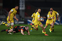 Rugby Union - 2020 / 2021 European Rugby Heineken Champions Cup - Round of 16 - Gloucester vs La Rochelle - Kingsholm<br /> <br /> La Rochelle's Dillyn Leyds evades the tackle of Gloucester's Fraser Balmain.<br /> <br /> COLORSPORT/ASHLEY WESTERN