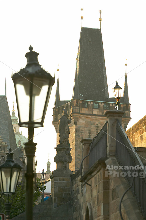 Czeck Republic, Prague, street lamp with view of Mala Strana tower on the Charles bridge