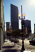 Gravier Street traffic lights in central business district, New Orleans, Louisiana, USA 1989