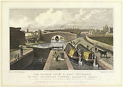 Double lock on the Regent's Canal, London showing the east end of the Islington Tunnel in the background. Hand-coloured engraving c1830