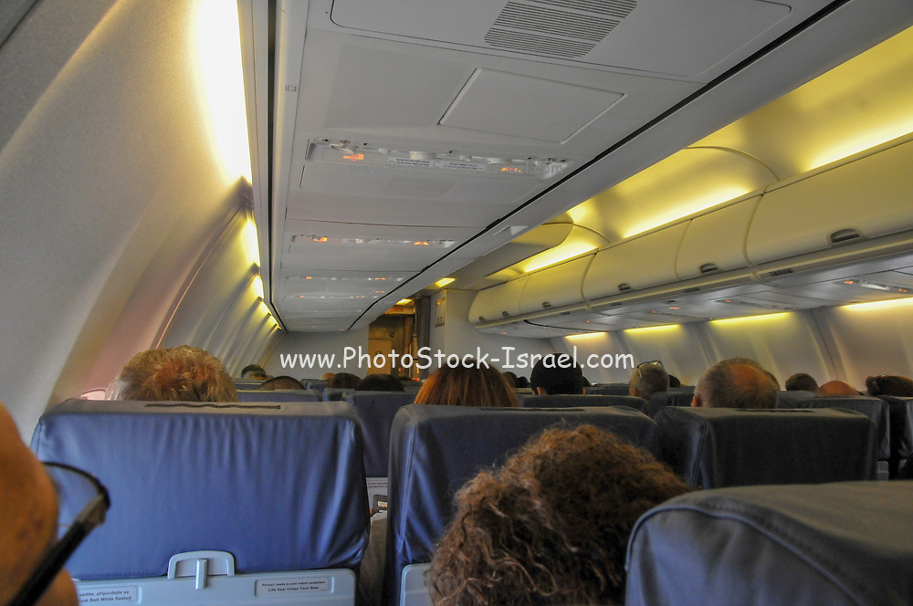 Interior of the cabin of a Travel Service Airlines (Czech Republic) Boeing 737-800