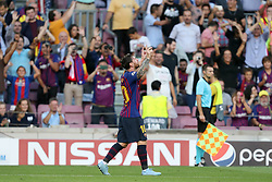 September 18, 2018 - Barcelona, Catalonia, Spain - Lionel Messi of FC Barcelona celebrates after scoring his side's opening goal during the UEFA Champions League, Group B football match between FC Barcelona and PSV Eindhoven on September 18, 2018 at Camp Nou stadium in Barcelona, Spain (Credit Image: © Manuel Blondeau via ZUMA Wire)
